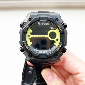 Black Men's Armitron All-Sport rubber watch
